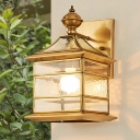 Metal Lantern Sconce Light Traditionalism 1 Head Living Room Wall Lighting in Brass with/without Pull Chain