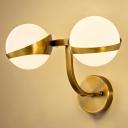 Modernist Milky Glass Ball Wall Light 1/2-Light Brass Sconce Light Fixture with Curved Arm