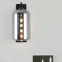 Closed Glass Mason Jar Shape Wall Sconce Retro Style 1 Bulb Black Wall Light Fixture with Arm