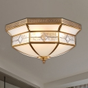 Brass 3/4/6 Lights Ceiling Mount Classic Curved Frosted Glass Bowl Flush Light Fixture for Corridor