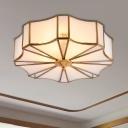 3/4 Lights Flower Flush Light Fixture Traditional White Curved Glass Flush Mount Lighting for Bedroom