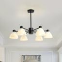 Dome Milk Glass Pendant Light Kit Modern Style 6/8/12 Bulbs Black Finish Chandelier Light Fixture for Dining Room