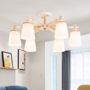 Nordic Stylish Conic Chandelier Lighting White Glass 6/8 Lights Living Room Hanging Ceiling Light