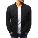 Mens Classic Plain Stand Collar Long Sleeves Zip Up Lightweight Diamond Quilted Jacket