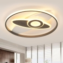 Black-White Oval Ceiling Lamp Modernism Acrylic LED Flush Mount Fixture for Bedroom