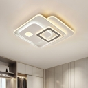 Overlapping Acrylic Ceiling Light Fixture Contemporary White LED Flush Mount Light