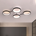 Black Round Ceiling Fixture Contemporary 4/5 Lights Acrylic Flush Mount Lamp in Warm/White Light