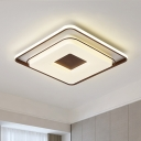 White Square Ceiling Mounted Light Minimalist Acrylic LED Flush Light in Warm/White Light, 16