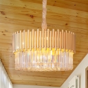 8-Light LED Living Room Chandelier Lighting Gold Ceiling Hang Fixture with Drum Crystal Shade