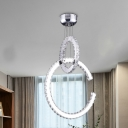 Chrome 2 Tiers Chandelier Light Modernism LED Clear Crystal Glass Pendant Lighting in White/Warm/3 Color Light