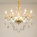 Modernist Candle Ceiling Chandelier Faceted Clear Crystal 6 Bulbs Living Room Pendant Light Fixture in Gold