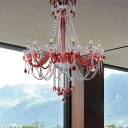 Candle Beveled Crystal Pendant Chandelier Modernism 12 Bulbs Red Hanging Light for Living Room