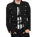 Mens Cool Fashion Button Decoration Long Sleeve Zip Placket Plain Black Fitted Uniform Jacket