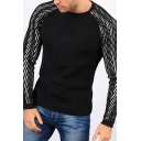 Mens Leisure Black Raglan Long Sleeve Round Neck Slim Fit Knitted Sweater