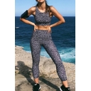 New Stylish Dot Printed Sleeveless Crop Tank Top with Skinny Pants Yoga Fitness Co-ords