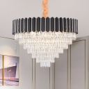 Contemporary Layered Crystal Chandelier Lamp 16/22 Lights Hanging Light Kit in Black for Dining Room