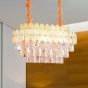Tiered Clear Crystal Island Light Fixture Contemporary 12 Lights Living Room Pendant Lighting