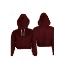Street Fashion Plain Long Sleeve Cropped Drawstring Hoodie for Women