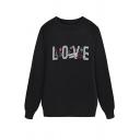 Women's Cozy Trendy Long Sleeve Crew Neck LOVE Letter Print Baggy Sweatshirt in Black