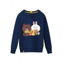 Girls' Korean Style Long Sleeve Round Neck Brown&Cony Print Patched Boxy Pullover Sweatshirt