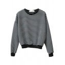 Basic Fashion Long Sleeve Crew Neck Stripe Print Loose Fit Daily Pullover Sweatshirt for Women