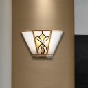 1 Head Gold Finish Sconce Light Colonial Style Trapezoid Opaline Glass Wall Light