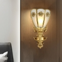 1/2-Light Opal Glass Shade Indoor Sconce Retro Carved Gold Finish Floral Wall Lamp
