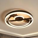 Orb Acrylic Ceiling Light Fixture Modernism Black/White LED Flush Light in Warm/White/3 Color Light, 16