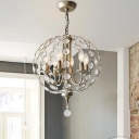 6 Heads Spherical Chandelier Lighting Traditional Crystal Hanging Ceiling Light in Aged Silver