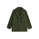Casual Basic Long Sleeve Notch Lapel Neck Double Breasted Plaid Pattern Flap Pockets Plain Relaxed Wool Coat for Women