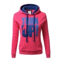 Women's Street Fashion Long Sleeve Drawstring Letter TURN UP Kangaroo Pocket Fitted Hoodie in Red