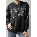 Unique Punk Girls Long Sleeve Drawstring Mixed Graphic Chain Buckle Embellished Kangaroo Pocket Boxy Hoodie in Black