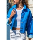 Casual Women's Long Sleeve Lapel Collar Button Down Pockets Side Plain Relaxed Short Jacket