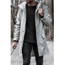 Mens Leisure Plain Single Breasted Flap Pocket Longline Trench Coat with Hood
