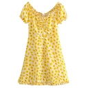 Beach Yellow Short Sleeve V-Neck Polka Dot Lettuce Edge Bi-Layer A-Line Dress for Girls