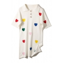Casual Cute Girls' Short Sleeve Lapel Collar Button Detail Heart Printed Straight Loose Fit Polo Dress