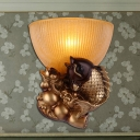 Bowl Shade Bedroom Wall Lamp Colonial Style Yellow Glass 1 Bulb Gold Finish Wall Lighting with Fish Backplate