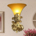 Resin Red/Gold Wall Lighting Fish Shape 1 Light Country Style Wall Sconce Lamp with Flared Amber Glass Shade