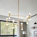 Gold 3 Layers Hanging Lamp Kit Nordic 12 Lights Metal Chandelier Light Fixture for Bedroom