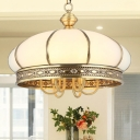 6 Bulbs Oval Hanging Chandelier Colonial Gold Opal Frosted Glass Ceiling Suspension Lamp for Bedroom