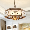 Frosted Glass Brass Chandelier Hexagon 5 Lights Colonialism Down Lighting Pendant for Dining Room