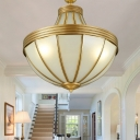 Frosted Glass Gold Pendant Chandelier Teardrop 3 Lights Colonialism Ceiling Hang Fixture for Dining Room