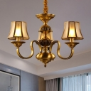 3/5/6 Heads Curved Arm Pendant Chandelier Colonialist Gold Metal Hanging Light Kit with Opal Frosted Glass Shade