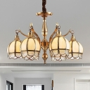 Metal Gold Ceiling Chandelier Armed 6 Bulbs Colony Hanging Light Fixture with Globe Frosted Glass Shade