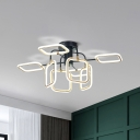 Gold-White Square Ceiling Mounted Light Contemporary Acrylic LED Flush Light in Warm/White Light
