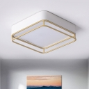 Square Ceiling Lamp Simple Style Metal White LED Flush Mount Lighting in Warm/White/3 Color Light