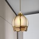 Cream Glass Gold Hanging Light Blossom 1 Light Vintage Down Lighting Pendant for Living Room