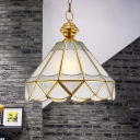 Frosted Glass Gold Pendant Lamp Scallop 1 Light Traditional Ceiling Hang Fixture for Living Room