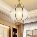 1 Head Lantern Pendant Lamp Traditional Brass Frosted Glass Hanging Light Fixture for Restaurant