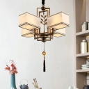 Rectangle Living Room Ceiling Chandelier Traditional Metal 4/6/8 Heads Black Hanging Light Fixture with White Fabric Shade